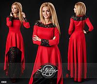 Красное вечернее трикотажное платье с гипюром. Арт-9309/41