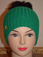 Шапка женская Резинка с натуральным помпоном зелёная 3626-1-gn
