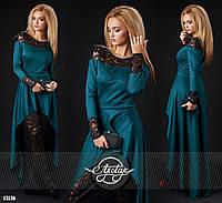 Зеленое  вечернее трикотажное платье с гипюром. Арт-9309/41