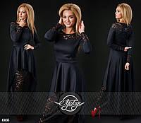 Черное  вечернее трикотажное платье с гипюром. Арт-9309/41