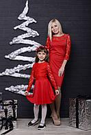 Стильное платье  для девочки с гипюром красное