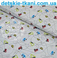Ткань с мини машинами и тракторами № 506а