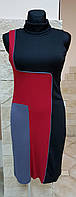 Платье-гольф без рукавов,трикотаж,черно-серо-красное, Comby