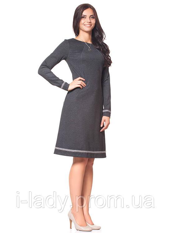 1c17459d335 Повседневное женское платье классическое черное с длинным рукавом -  Интернет магазин женской одежды