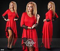 Стильное коктельное красное платье с кружевом. Арт-9311/41