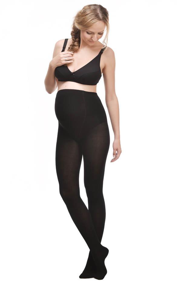 Теплые колготки для беременных, с бамбуковым волокном 250 Den, черные