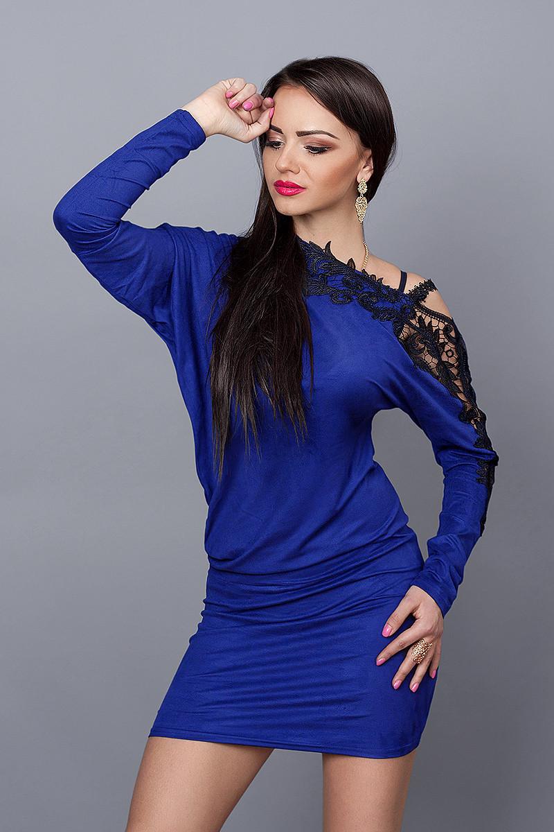 Платье  модель №142-3, размеры 42-48 электрик