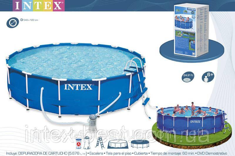 Intex 28252 - круглый каркасный бассейн Metal Frame 549x122 см