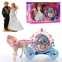 Карета c конем, лялька 2 шт, звук, світло, на бат-ке