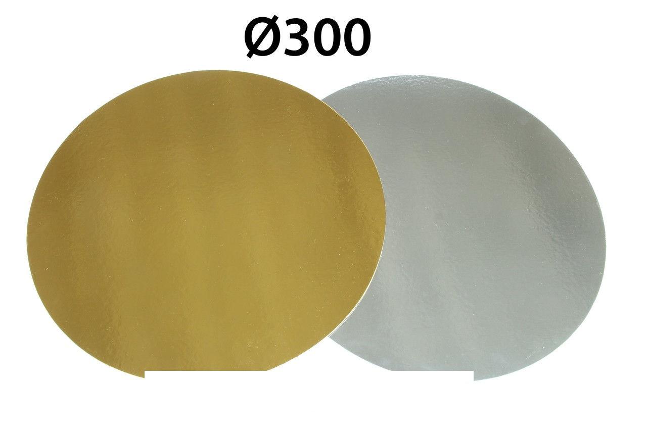 Подложки для тортов d-30 см h-1мм золото/серебро 1 шт