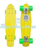 Скейтборд/скейт Penny Board (Пенні борд фіш) Fishskateboards: жовтий/зелений, до 80кг