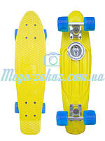 Скейтборд/скейт Penny Board (Пенні борд фіш) Fishskateboards: жовтий/блакитний, до 80кг