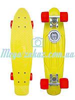 Скейтборд/скейт Penny Board (Пенні борд фіш) Fishskateboards: жовтий/червоний, до 80кг