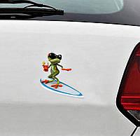 3д тюнинг / Наклейка 3д Лягушка и серфинг, фото 1