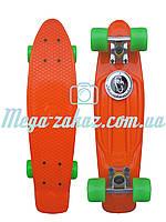 Скейтборд/скейт Penny Board (Пенні борд фіш) Fishskateboards: помаранчевий/салатовий, до 80кг
