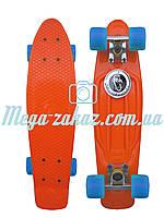 Скейтборд/скейт Penny Board (Пенні борд фіш) Fishskateboards: помаранчевий/блакитний, до 80кг