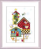 Набор для вышивки крестом Скворечники зимой