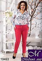 Женские укороченные брюки цвета коралл (48, 50, 52, 54, 56) арт. 10463