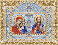 Схема для вышивки бисером Иконостас. Богородица Казанская и Христос Спаситель