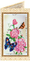 Набор для вышивки бисером открытка Цветы и бабочки