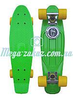 Скейтборд/скейт Penny Board (Пенні борд фіш) Fishskateboards: зелений/жовтий, до 80кг