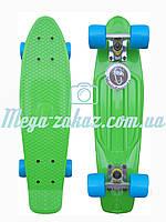 Скейтборд/скейт Penny Board (Пенні борд фіш) Fishskateboards: білий/блакитний, до 80кг