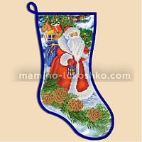 Схема для вышивки бисером Новогодний сапожок ''Дед Мороз''