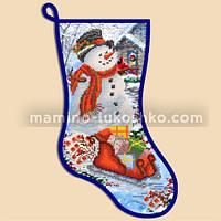 Схема для вышивки бисером Новогодний сапожок ''Снеговик''