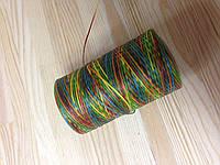 Нитка вощёная, плетенная, плоская, разноцветная, толщина - 1 мм, 130 метров, артикул СК 5088