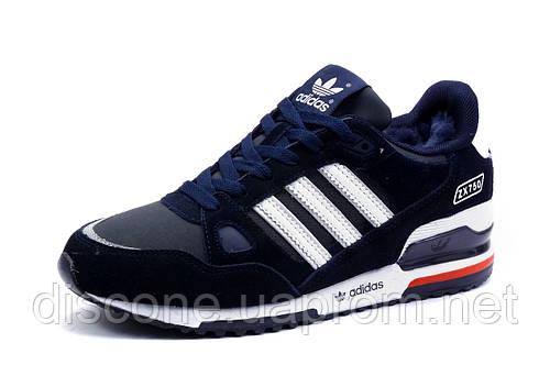 Зимние мужские кроссовки Adidas ZX750, на меху, темно-синие
