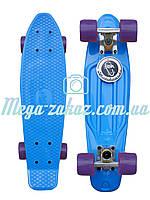 Скейтборд/скейт Penny Board (Пенни борд фиш) Fishskateboards: голубой, до 80кг