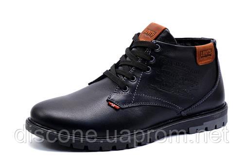 Зимние ботинки Levi's мужские, черные, натуральная кожа