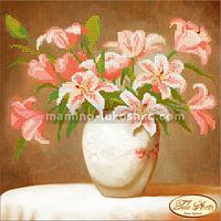Схема для вышивки бисером Розовые лилии