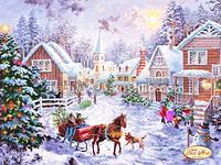 Схема для вышивки бисером Рождественская деревня