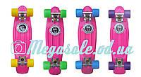 Скейт Penny Board (Пенни борд фиш) Fishskateboards: розовый, до 80кг