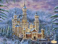 Схема для вышивки бисером Замок Нойшванштайн зимой