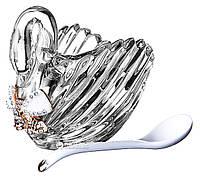 Икорница с ложечкой Лебедь, 12 см