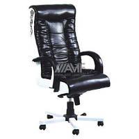 Кресло Кинг Люкс MB белый лаки черный передняя часть, лаки белый задняя часть, вышивка Elite