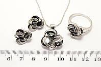"""Набор """"3 черных камня"""" : серьги, кулон, кольцо"""