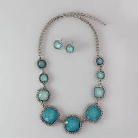 Красивое женское колье и серьги набор голубого цвета с камнями, фото 1