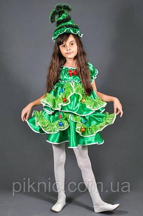 Костюм Елочка 5-10 лет. Детский новогодний карнавальный костюм Елка для девочки 344, фото 2
