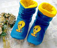 Тапочки сапожки детские флисовые Duck синие