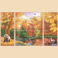 Схема для вышивки бисером Осень в лесу, полиптих из 3 частей