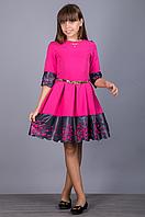 Элегантное нарядное платье с перфорацией для девочки.134р
