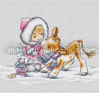Набор для вышивки крестом Девочка с теленком