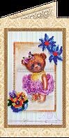 Набор для вышивки бисером открытка Мишка Тедди-5