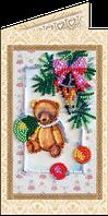 Набор для вышивки бисером открытка Мишка Тедди-4
