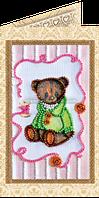 Набор для вышивки бисером открытка Мишка Тедди-6