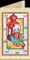 Набор для вышивки бисером открытка Мишка Тедди-1