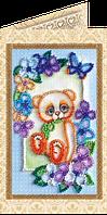 Набор для вышивки бисером открытка Мишка Тедди-2